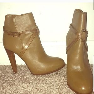 Tory burch 3 inch brown leather booties